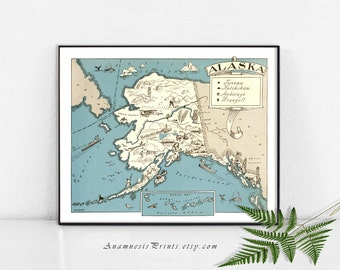 ALASKA MAP PRINT - size & color choices - personalize it - vintage pictoria map art print - perfect for many gift occasions - home decor