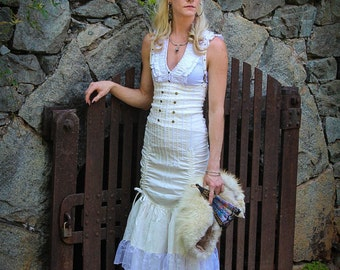 High Waisted Skirt - White, Victorian, Steampunk,  White Skirt, Ruffled Skirt, Boho, Burning Man, Festival Clothing, Victory Skirt