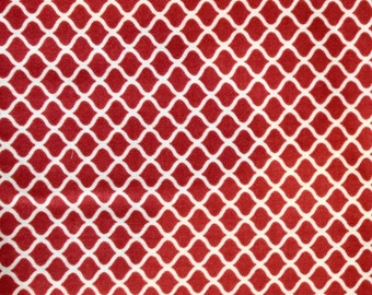 Red Quatrefoil Fabric Quilt Sew Blanket Craft