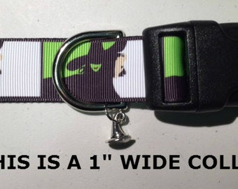 "2 designs WICKED Inspired Wicked Witch Halloween 1"" wide adjustable dog collar witch hat charm LEASHES & key fob available"