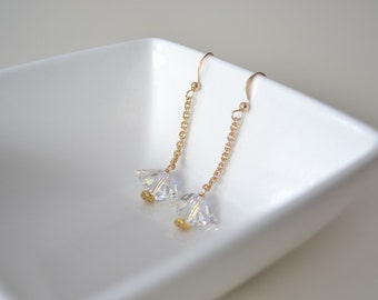 14 K Gold Filled Earrings, Crystal and Gold Earrings, Crystal Spike Earrings, Gold Chain Earrings