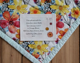 Personalized Sewing Labels | Personalized Quilt Labels | Custom Fabric Labels | Cut-Out Labels | Birth Stats Label
