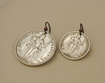 Mismatched French Polynesia Coin Earrings 1975 and 1977