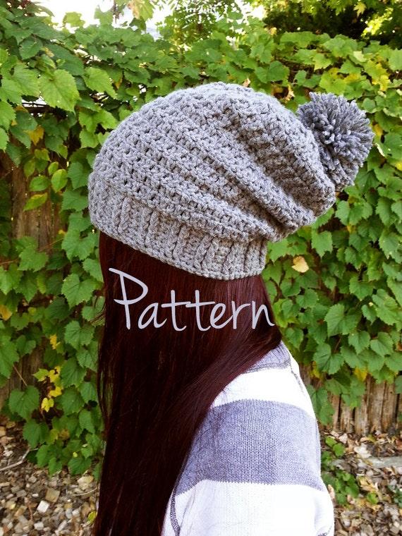 Crochet Pattern Slouchy Beanie Pom Pom Winter Fall Autumn Hat