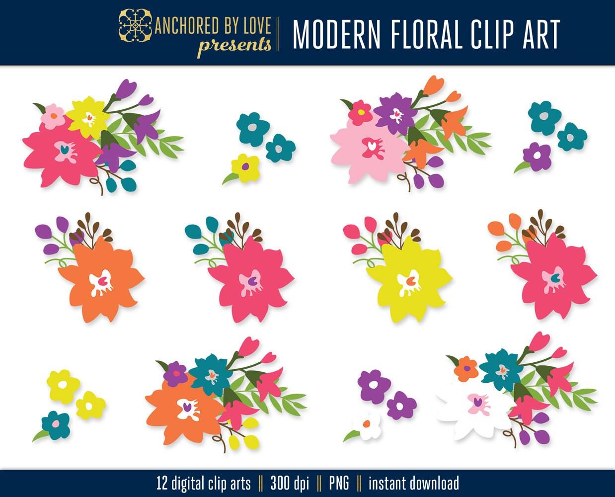 Modern Flower Clipart Pink Floral Clipart Orange Flowers