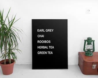 Tea Drinks Print   Tea Kitchen, Wall Art Print, earl grey, chai, rooibos, herbal tea, green tea digital print