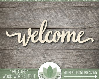Wood Welcome Laser Cut Word Sign, Wooden Welcome Sign, Gallery Wall Wood Word Signs, Wood Word Home Decor, Housewarming Gift
