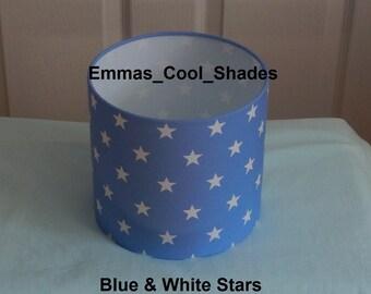 New Handmade Lampshade - Blue & White Stars Fabric - Drum 20cm 30cm 40cm  Bespoke Blue - Nursery - Baby