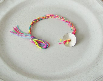 Fluo fiber bracelet, ombre braided bracelet with silver coloured button clasp, fluo friendship bracelet, thin, braided colourful cuff