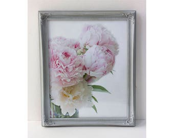 Framed Peony Art, Peony Photograph, Floral Decor, Cottage Chic Wall Decor, Wood Frame