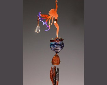Wind Chime & Potion Bottle with Crystal - Hanging Spring Time Star Reaching Copper Fairy - In your choice of color - red, green or blue