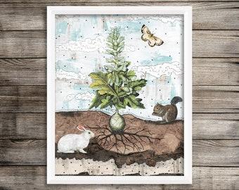 Rabbit Printable Artwork , Vintage Inspired Botanical Art Print , Blue and Beige Art , Instant Download Rabbit Wall Art