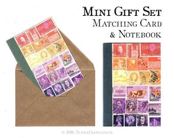 Matching Notebook & Notecard Gift Set | Postage Stamp Sunset Card + Gift, A6 Travel Journal | Orange Purple Postal Art Print Stationery Set
