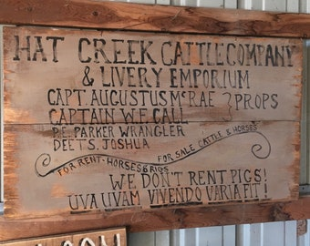 Lonesome Dove Hat Creek Sign