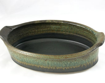 Long Oval Baking Dish, Handmade Baker with Handles, Green and Black
