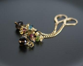 Multi gemstone earrings, smokey topaz earrings, citrine earrings, tourmaline earrings, London blue topaz earrings, gold fill chain earrings