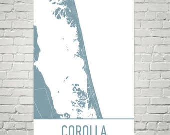 Corolla Map, Corolla Art, Corolla Print, Corolla NC Poster, Outer Banks Gifts, Map of Outer Banks, Corolla Poster, Outer Banks Art, Carolina