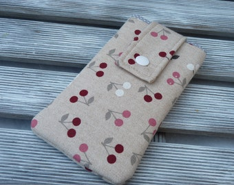 Iphone 8 pouch, cherry, iPhone 7 sleeve, iPhone 7 case, iPhone 6s cover, Padded iphone 8 case,  iphone 7 Pouch , cherry fabric phone pouch