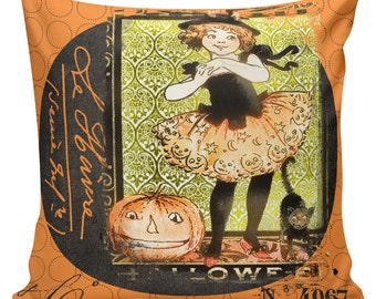 Halloween Pillow Vintage Pumpkin Jack o Lantern Witch Cat Burlap Cotton Throw Pillow Cover #HA0132