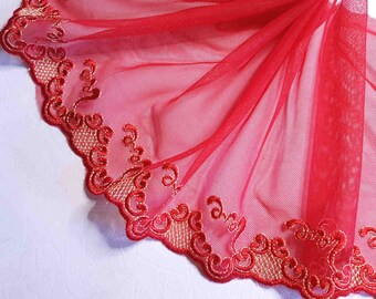 1.55 M pretty lace embroidery on red gold tulle width 19 cm