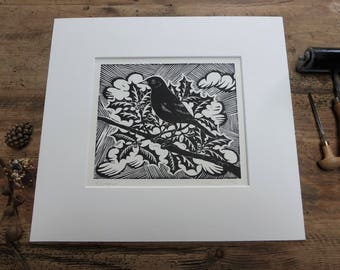 Blackbird on Holly linocut