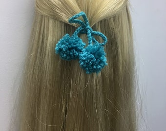hair accessories with tuquoise pompon, crochet hair accessories, hair accessories