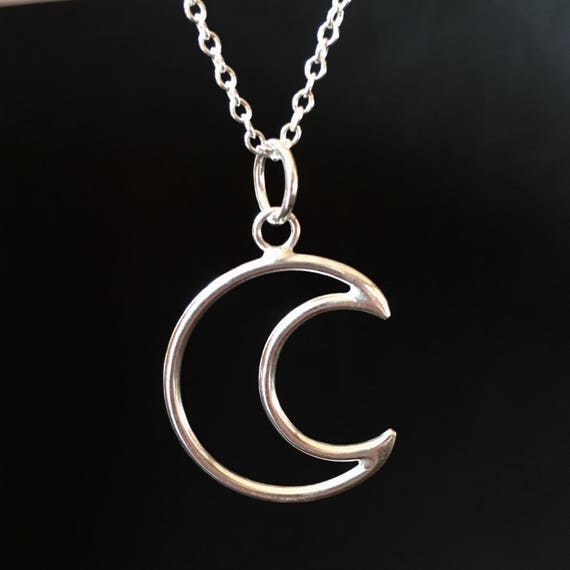 925 Solid Sterling Silver Waning Crescent Moon Pendant with Silver Chain - Symbolic Jewellery Dy0xsZ4wzx
