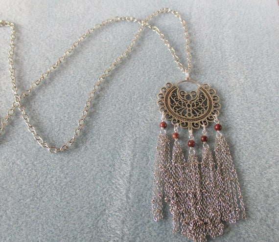 Jasper and Open Scroll Pendant Tassel Necklace
