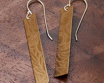 Bronze Metal Etched Earrings (Chemical-free)