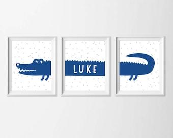 Personalized Alligator Art Printable, Name Nursery Art , Safari Wall Art, Nursery Set of 3 Wall Art, Zoo Safari Bathroom, Blue Gray Art