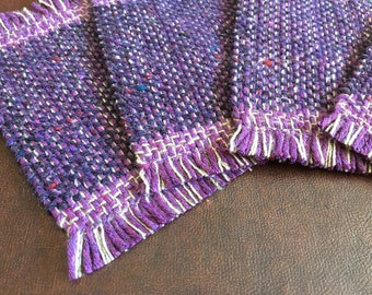 Handmade Woven Coasters, mug rugs, purple, green, handmade, set of four