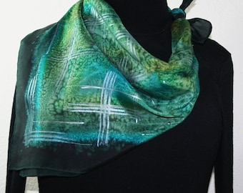 Green Silk Scarf Hand Painted Silk Shawl Sage Green Olive Scarf GREEN FIELDS, in 6 SIZES by Silk Scarves Colorado. Birthday, Bridesmaid Gift
