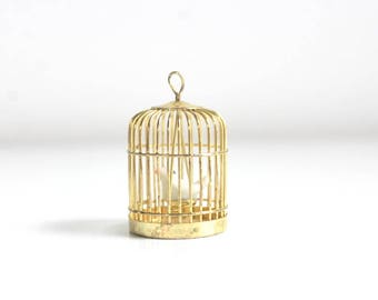 Miniature Birdcage, Dollhouse Birdcage, Brass Birdcage, Gold Birdcage, Tiny Birdcage, Birdcage with Bird, Dollhouse Pet, Birdcage Pendant