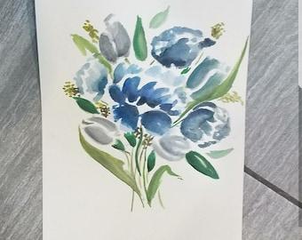 9x12 in Watercolor painting,  original print,  watercolor flowers