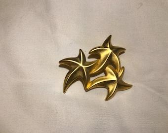 Vintage Gold Three Star Brooch