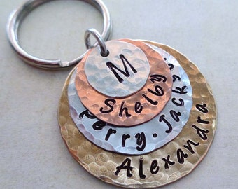 Family Stack Personalized Keychain - Custom Names Words Dates - Mother's Day Gift - My Family Hand-stamped Keychain - K61