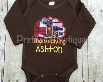 First Thanksgiving Boy Shirt or Baby Bodysuit Personalized with Name in Sizes Newborn to Youth XL