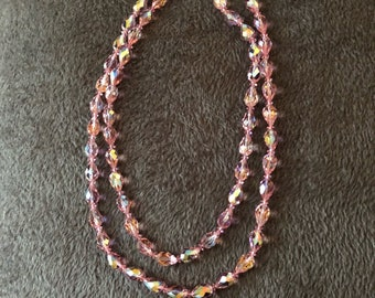 Rare 1950's vintsge pink aurora borealis crystal necklace.