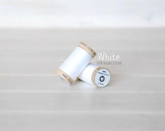 Organic Cotton Thread GOTS - 300 Yards Wooden Spool - Thread Color White - No. 4800 - Eco Friendly Thread - 100% Organic Cotton Thread