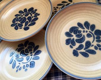 1980's Set OF 4 SALAD Plates- Pfaltzgraff Folk Art, Made in the USA, cabin, farmhouse, cottage, bed and breakfast, pfaltzgraff
