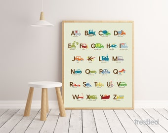 "Vehicle Alphabet Poster, Vehicle ABCs, ABC Poster: 16x20"" Print"