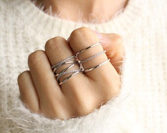 Ring Set of 2 Stacked Silver Rings Stacking Ring Set Stackable Rings Set Silver Ring Set Adjustable Unique Rings Gift For Her Jewelry