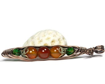 Three Peas in a Pod, Pea Pod Necklace, Orange Carnelian Jewelry, Copper Pea Pod Pendant, Wire Wrapped Pendant, Friendship Pendant