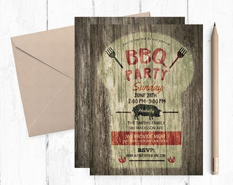 BBQ Invitation, BBQ Birthday Invitation, Bbq Invitations, Bbq printable invitations, Bbq invites, Bbq Birthday invite, Bbq Party invitation,