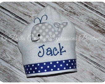 Whale Hooded Towel - beach towel -baby towel - personalized gift - baby shower - momgrammed - baby gift - whale - applique towel -