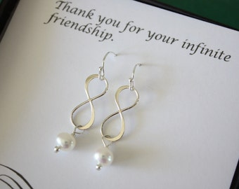 2 Infinity Bridesmaids Earrings, Bridesmaid Gift, Pearl Earrings, Infinity Jewelry, Sterling Silver Earrings, Thank you Cards