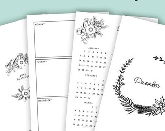 Printable Planner Pages, Letter, Half, A4, Floral Planner Pages