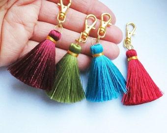 Clothing gift,Small Tassel Keychain,Purse Charm,Silk Tassel Keyring,Gift Idea,Zipper Clip,Bag Accessory,Silk Tassel Charm,Tassel Accessories