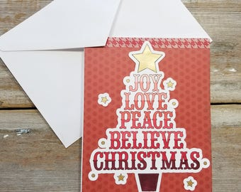 Red Christmas Cards - Christmas Tree Card - Christmas Words Art - Red Polka Dot - Christmas Card Red - Joy Love Peace Believe Christmas
