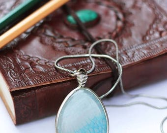 Light blue agate pendant, coulomb with agate, big stone pendant, woman's pendant, boho pendant, metal chain pendant, unique pendant